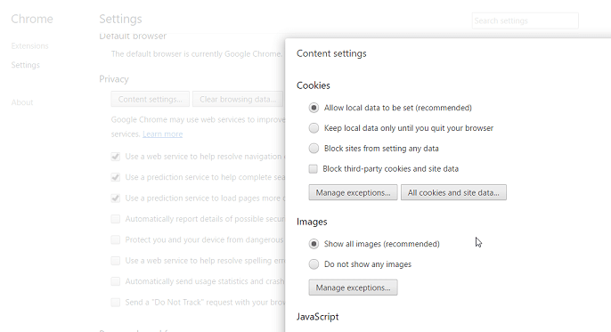 cookies in Chrome browser