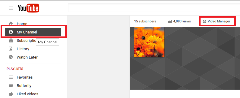 Login and Select MyChannel - Youtube
