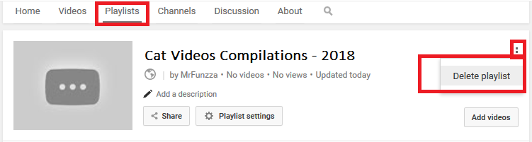 Deleting Playlist from YouTube Channel