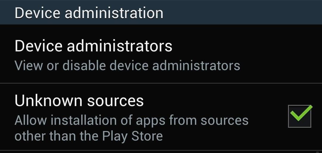 Allow Installation from Unknown Sources