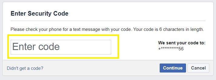 Enter Facebook security code from Phone number