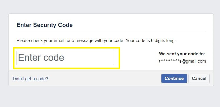 Enter Facebook security code from email