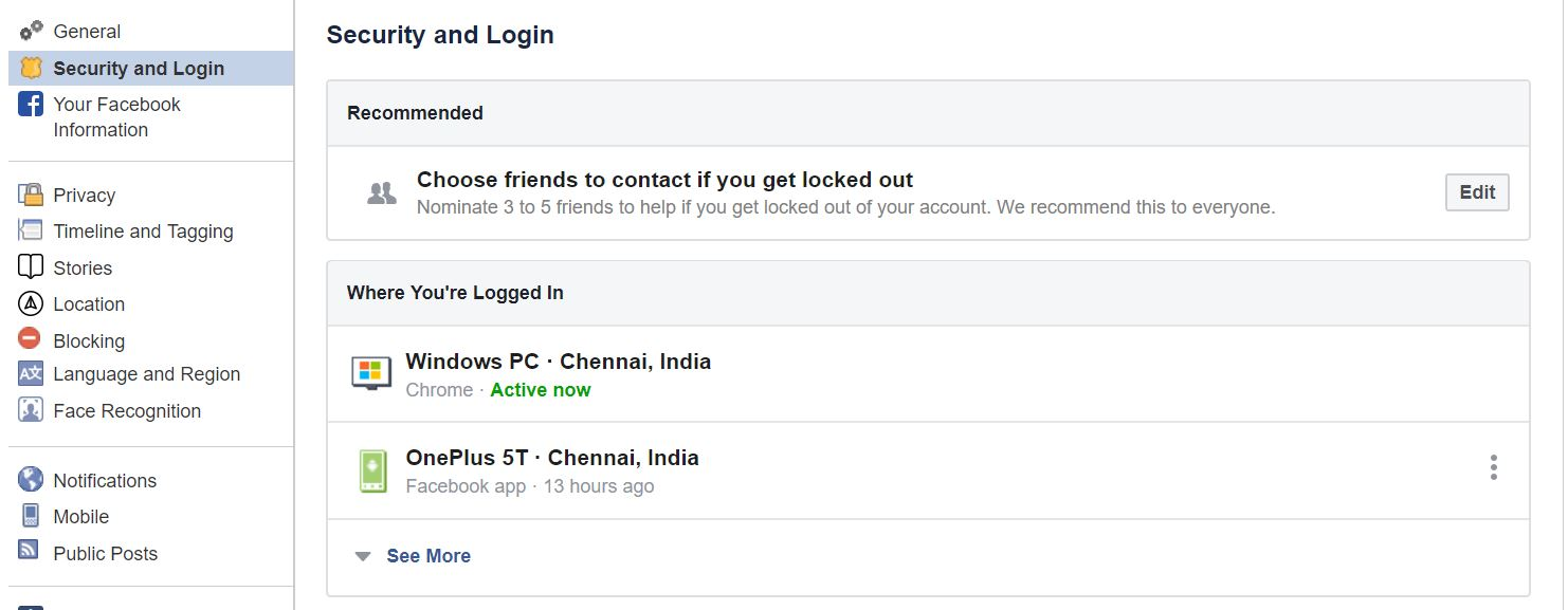 Facebook other Logged devices
