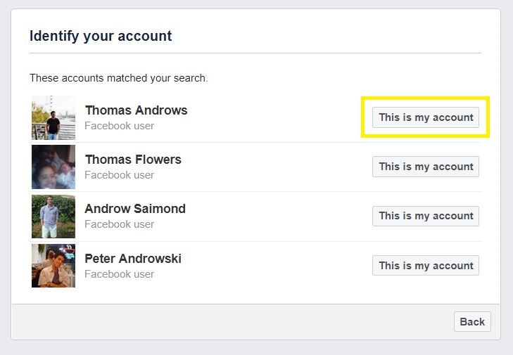 Pick the Facebook user you want to find password
