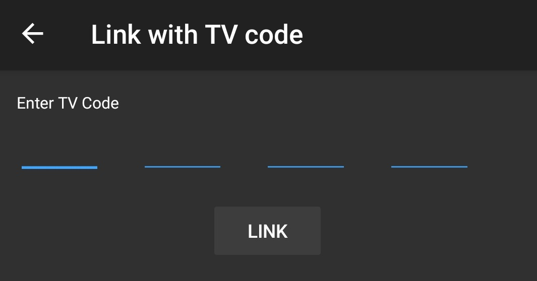 YouTube Link with TV code