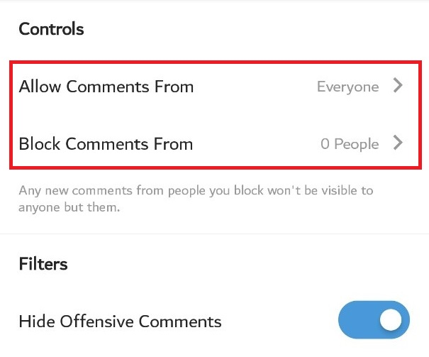 Comment setting on Instagram