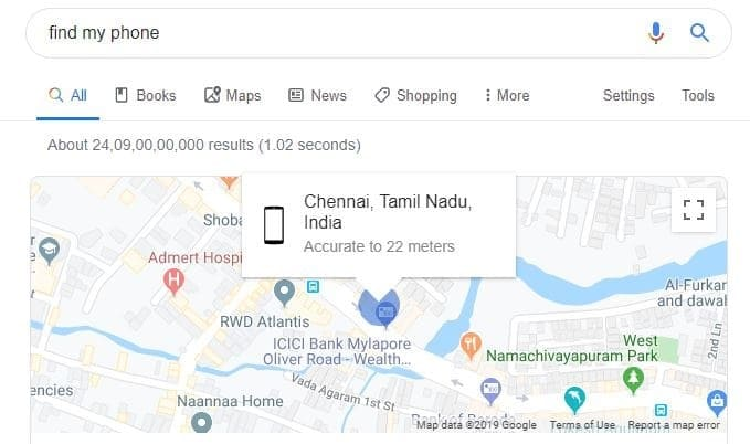 Find My iPhone using Google