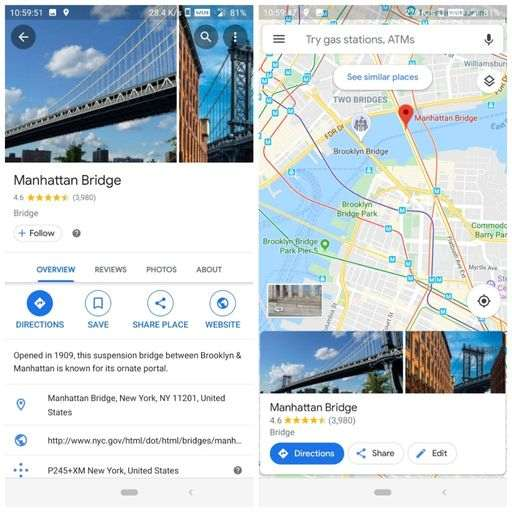 How to drop a map in Gmaps on Android