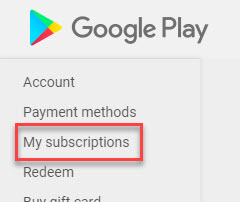 Cancel HBO in Google Play Store