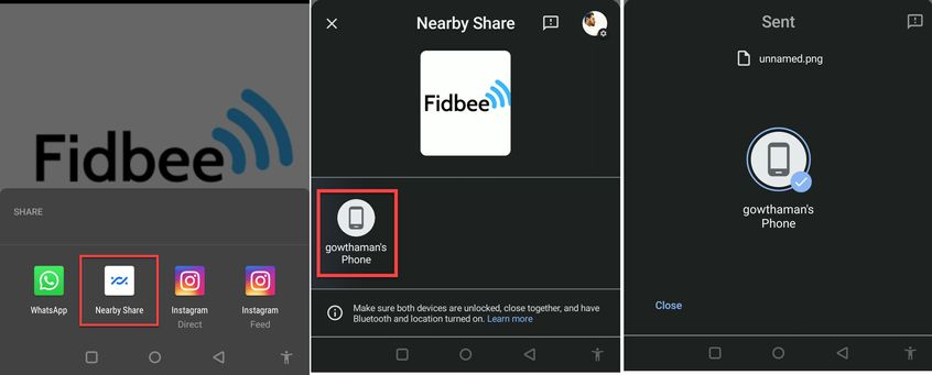 Sharing files using Nearby Search