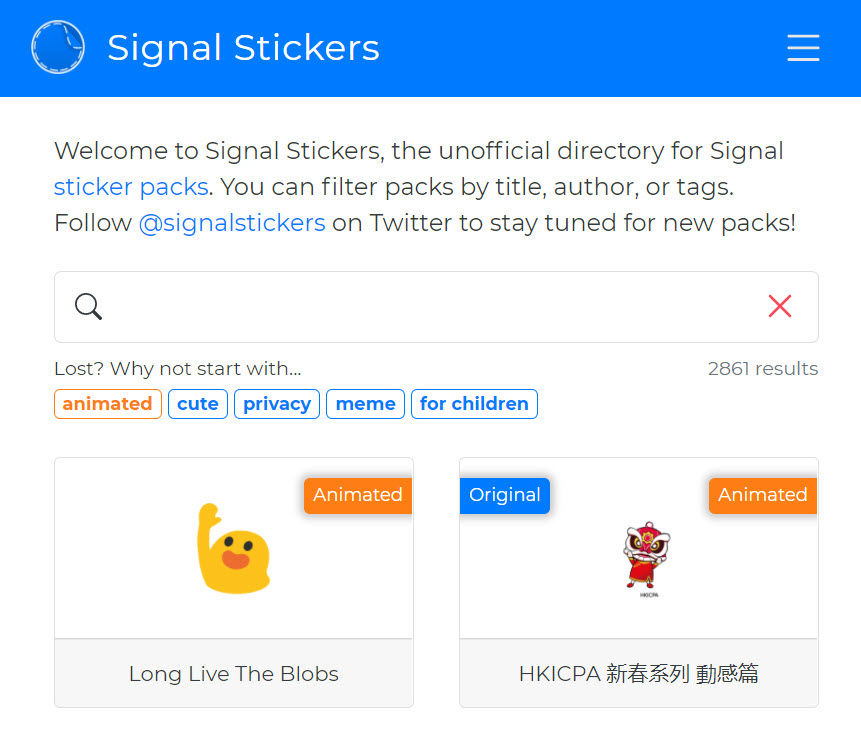 Animated signal stickers
