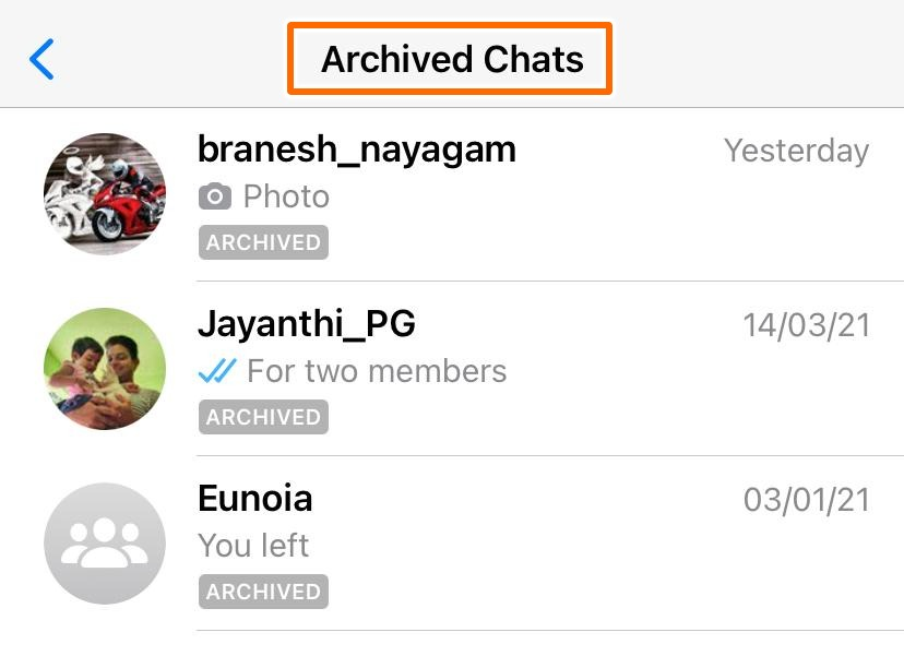 This is the archived chats section.