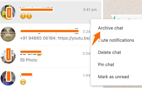 Archive Chat option in the dropdown.
