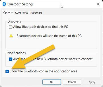 Show Bluetooth icon in Notification Area
